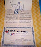 Ry-Krisp 1931 RALSTON Advertising STAY SLIM Coupon Vintage Ephemera DIET 30's
