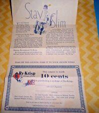 Ry-Krisp 1931 RALSTON Advertising STAY SLIM Coupon Vintage Ephemera