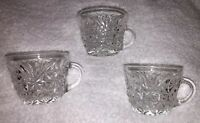 Vintage 3 Glass Punch Bowl Cups - Pressed Glass