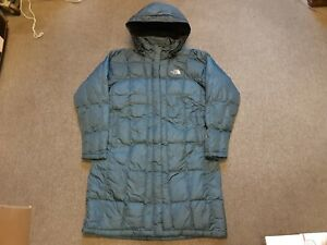 Womens The North Face 600 Goose Down Puffer Long Coat Parka Jacket Blue X-Large