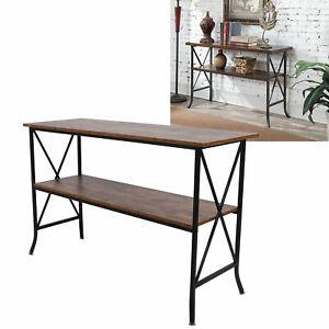 Table console Table d'entrée Bout de canapé, à 2 niveaux, en verre trempé
