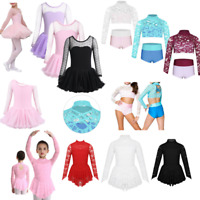Girl Lyrical Ballet Dance Gymnastics Tutu Dress Kids Ice Skating Leotard Costume