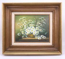 Antique Vtg Nancy Lee Signed Oil Painting Board Daisies Still Life Basket