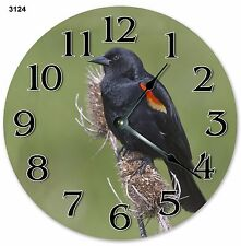 "10.5"" RED WINGED BLACK BIRD CLOCK - Large 10.5"" Wall Clock - Home Décor - 3124"