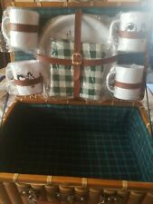 Brown Picnic Basket with 4 Plastic Cups, Plates & 1 Green & White Tablecloth.