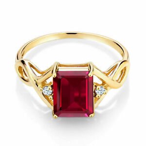 2Ct Emerald Cut Red Ruby Solitaire Women's Engagement Ring 14K Yellow Gold Over