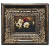 Framed miniature oil painting art of white flowers in garden with ornate frame