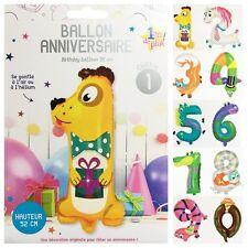 1 BALLON ANNIVERSAIRE FORME CHIFFRE ANIMAUX 52 A 66 CM FETE EVENEMENT