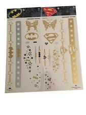 Batman Vs. Superman Gold Bling Temporary Tattoos Set of 2 Packs