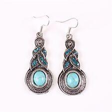 Beautiful Turquoise with Blue Rhinestone Tibetan Silver Dangle Pierced Earrings