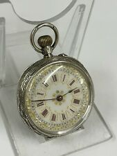 Hands Not Moving Spares Or Repair Antique Silver Ladies Pocket Watch Working But