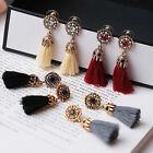 Vintage Women Rhinestones Crystal Tassel Drop Stud Earrings Dangle Party Jewelry