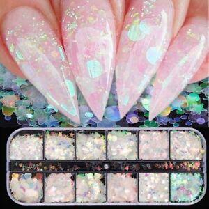 12 Grid/set Nail Art Nail Sequin Crystal Rhinestones Nail Glitter Salon Nail Art