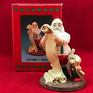 Santa's Visit Christmas Checking It Twice With Box Presents Elf EUC 1995 Naughty