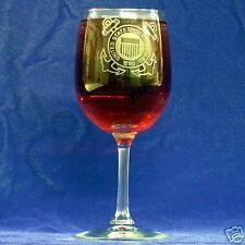 US Coast Guard Emblem etched wine glasses, set of 4