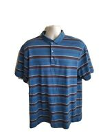 Nike Dri Fit Tiger Woods Collection Golf Polo Striped Shirt Mens Size L Large