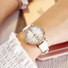 Faux Leather Black White Opal Face Women's Analog Quartz Casual Wrist Watches
