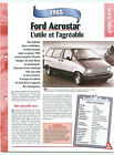 Ford Aerostar 1985 GERMANY DEUTSCHLAND ALLEMAGNE Car Auto FICHE FRANCE