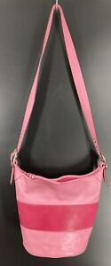 Coach Leather Rugby Duffle Bucket Bag, Two Tone Stripe, #M0893-F13357, Good Cond