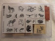 "Stampin Up ""Wildlife"" set of 20 ""Retired"" Wolf, Bear, Elk, Rabbit, Cougar, Moose"