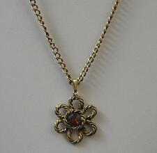 "Vintage Gold Tone Rope Flower Necklace Pendant Drop About 13"" G40"