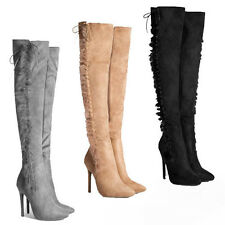 WOMENS FAUX FUR OVER THE KNEE HIGH HEEL LACE THIGH BOOTS LADIES SHOES SIZE 2-7