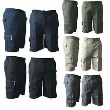 Mens Plain Elasticated Lightweight 3/4 Cotton Cargo Combat Shorts Pants New