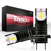 2PCS 55W H7 LED Headlights Driving High Low Beam Conversion Lamp Bulbs 6000K