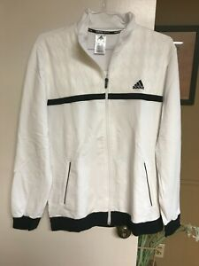 Adidas Climalite Tennis Jacket Mens  Full Zip - White/Black - LARGE