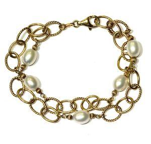 "925 Sterling Silver gold plated pearl gemstone bracelet 16.8g 8"""