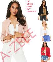 Womens Ruffle Frill Long Bell Sleeve Peplum Blazer Top Ladies Open Front Jacket