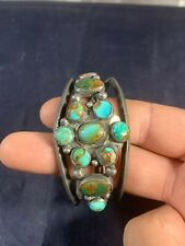 "Cuff Bracelet 3"" X 1.5"" Vintage Turquoise Colored Stone Metal"