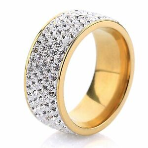 Unisex White Sapphire Stainless Steel Ring Wedding Band Ring Gold Size 10