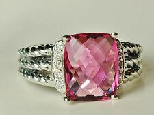 David Yurman Sterling Silver Pink Tourmaline Petite Wheaton Diamonds Ring size 9