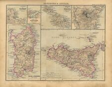 Carta geografica antica SICILIA SARDEGNA ELBA MALTA GOZO 1897 Old antique map