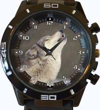 HURLANT Wild Loup Blanc Tendance Style Sportif Unisexe cadeau montre bracelet