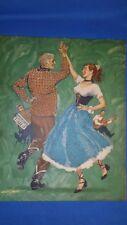 Vintage Print 1952 SQUARE DANCING Couple w Casey Jones in corner 11x14  Unframed