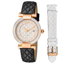 GV2 Gevril Berletta Womens Diamond Swiss Quartz Black Leather Strap Watch, 1504