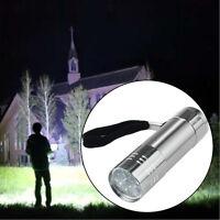 Mini 9-Light LED Flashlight Adjustable Focus Light Lamp Waterproof Silver