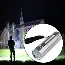Mini 9-Light LED Flashlight Adjustable Focus Light Lamp Waterproof Silver