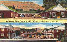 BIDWELL'S AUTO COURT Apt Motel Lincoln Hwy Roadside Pocatello, ID 1940s Postcard