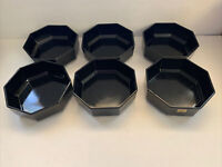 "Arcoroc France OCTIME Black Glass Octagon Set Of 6 Soup, Salad Bowls 5.7"" France"
