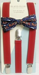 The Classic Club Children's Holiday train Clip-On Bow Tie & Solid Suspenders