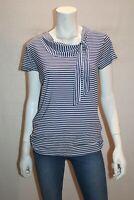 LAURA ASHLEY Brand Blue White Stripe Short Sleeve Tee Top Size M BNWT #TN109