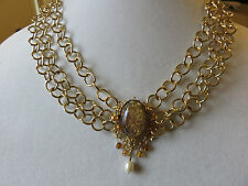 """KIRKS FOLLY 16"""" TRIPLE CHAIN CABOCHON NECKLACE NWOT"""