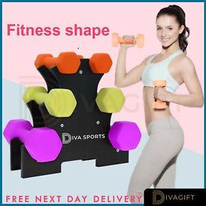 6pc Dumbells Pair Neoprene 3-16kg Weights Fitness Lifting Set Gym Dumbbells
