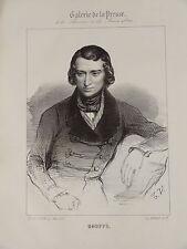 Litho Portrait HUGUES BOUFFÉ COMEDIEN ACTEUR THEATRE MODE HOMME ROMANTISME 1840