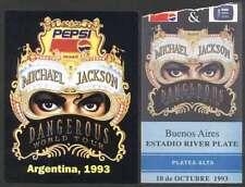 MICHAEL JACKSON Dangerous World Tour Ticket Argentina 1993 +Sticker