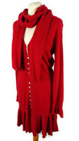 Per Una M&S Size 16 Red Long Sleeve Jumper Dress with Scarf Winter Warm