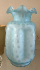 2 Antique Aqua Blue Satin Glass Vintage polka dot Lg Wright Westmoreland Fenton